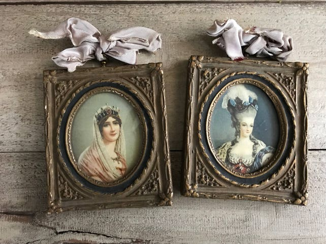 Pair French Gesso Frames Gold Gilt Plaster Prints Marie Etsy