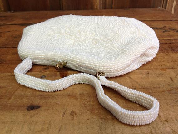 White Beaded Purse, Silk Satin Micro Beaded Handba