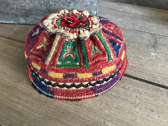 Ethnic Artisan Crafted Embroidered Hat, Beanie, Sk