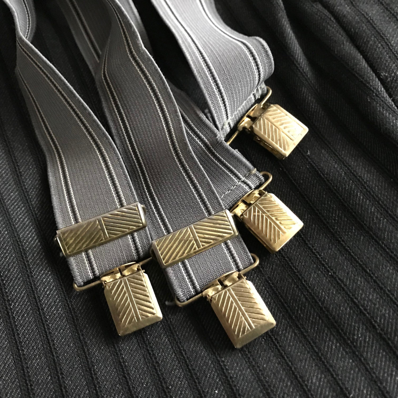 Men's 1920s Style Ties, Neck Ties & Bowties 1920S Black Wool Tuxedo Pants, Pin Stripe, White Shirt, Suspenders, Period Clothing $60.00 AT vintagedancer.com