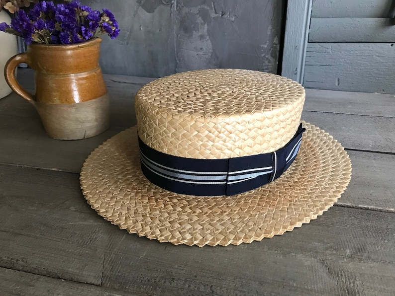 1930s Straw Boater Hat Striped Blue Ribbon Bow Lundquist  12c164f23092