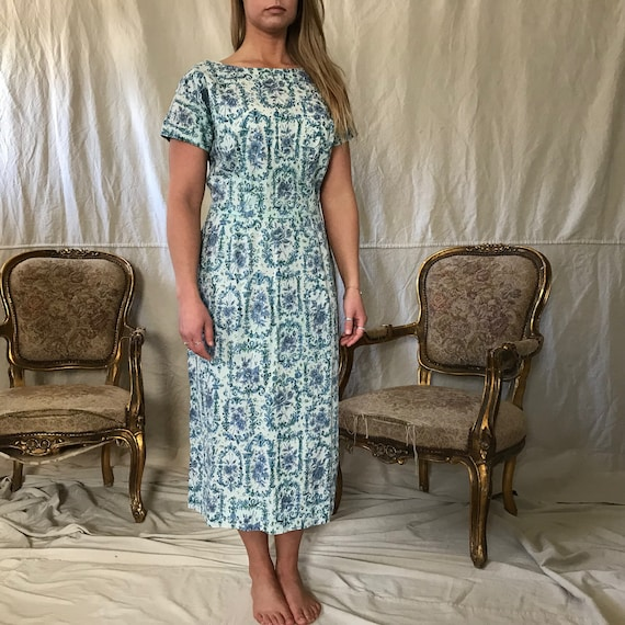 1950s Floral Cotton Dress, Day Dress, House Dress… - image 8