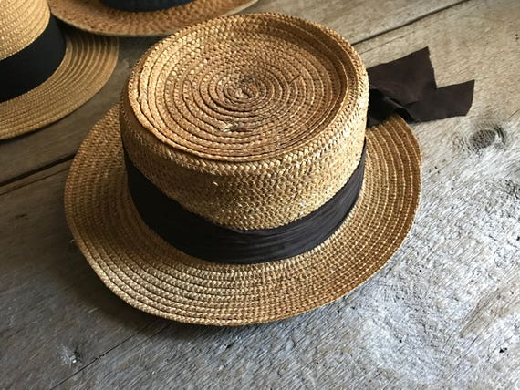 Authentic French Straw Boater Hat Grosgrain Ribbon  07a590fe5a77