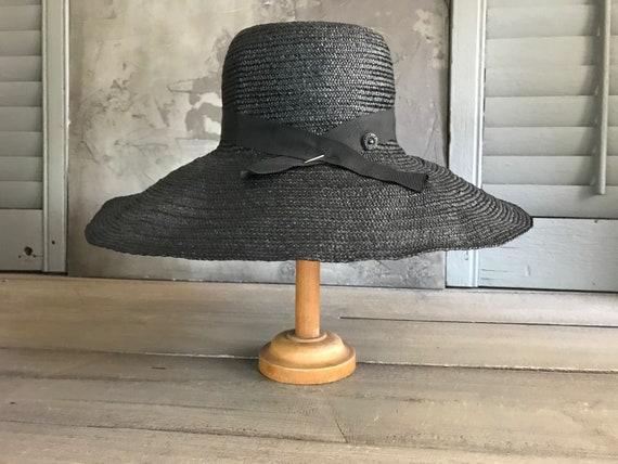 1930s Black Straw Hat, Black Ribbon Tie, Summer Su