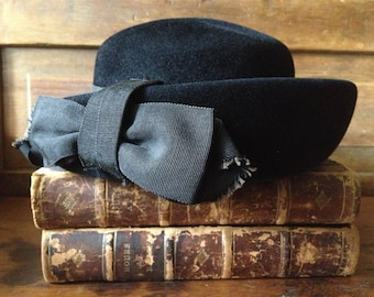 Black Felt Hat with Bow, Wool Derby Hat, Vintage Italy Roma, Fedora Hat