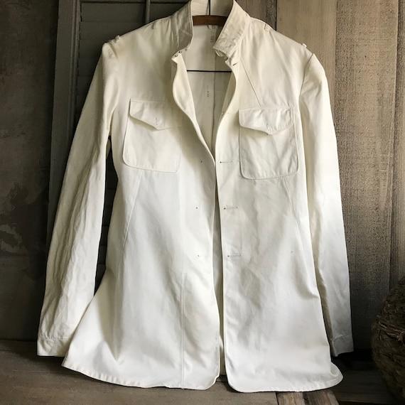 1940s Military White Dress Jacket, Coat, Blazer, F