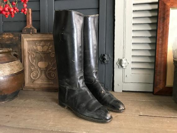 Black Riding Boots, Vintage, Antique