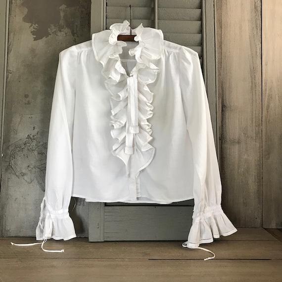 1800s French Chemise Blouse, Ruffle Peasant Shirt,