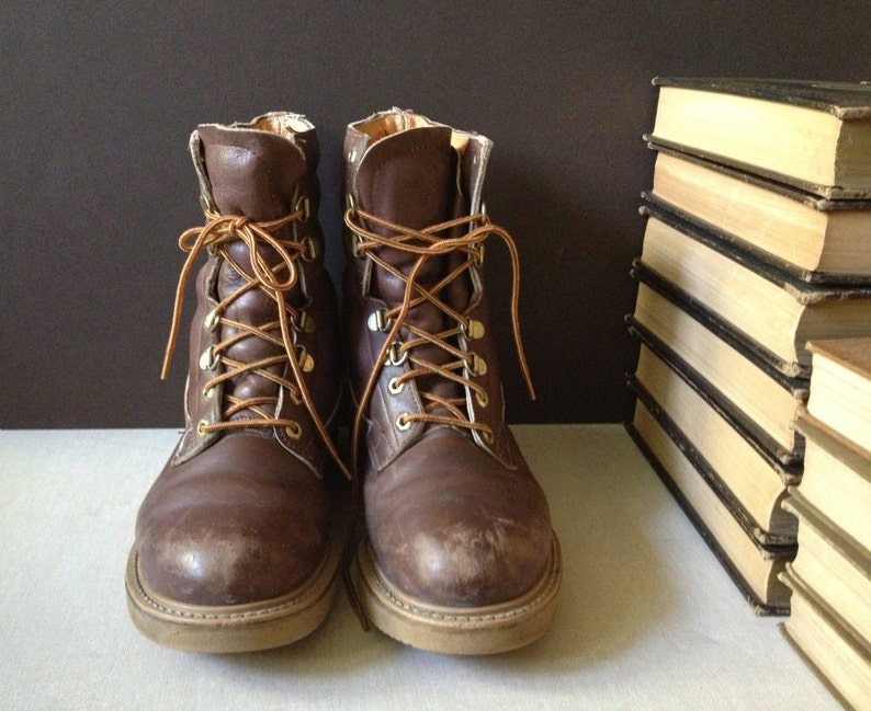 f04c5b3d4d Vtg Distressed Brown Leather Sub Zero Combat Boots // Men Size | Etsy