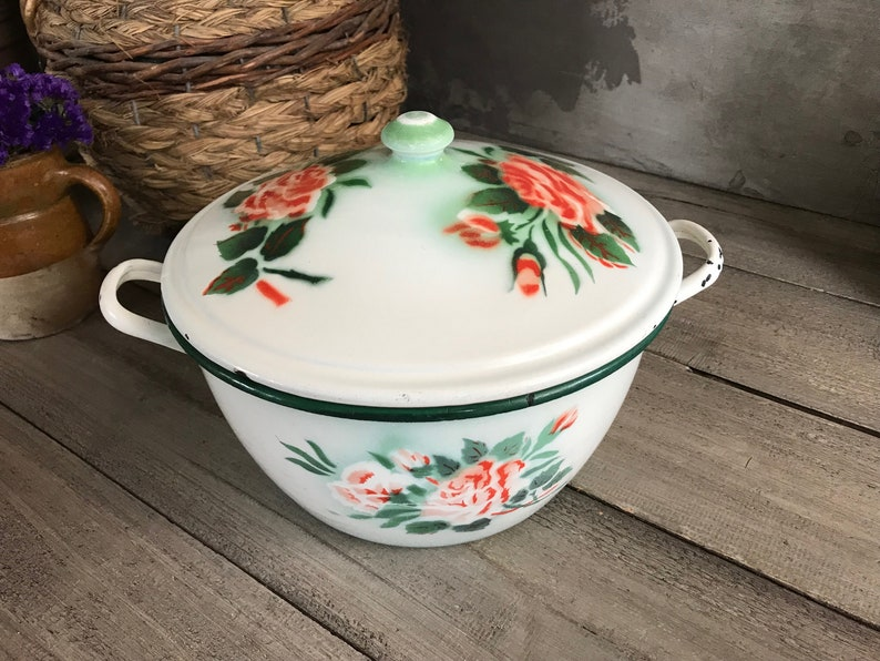 Coral Painted Roses Large Chippy French Enamel Casserole French Farmhouse