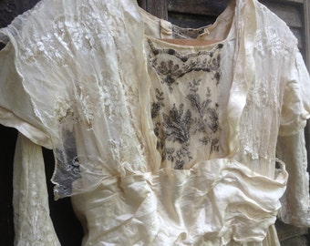 Edwardian Tea Dress Ivory Silk Satin Lace Summer Day Dress