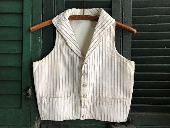 1800s French Cotton Waistcoat, Vest, Mens Workwear