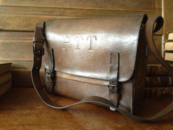 computerovernight satchel la Postes messenger bag French vintage Postes leather mailbag