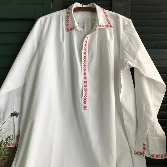 French White Chemise, Nightgown, Night Shirt, Smoc