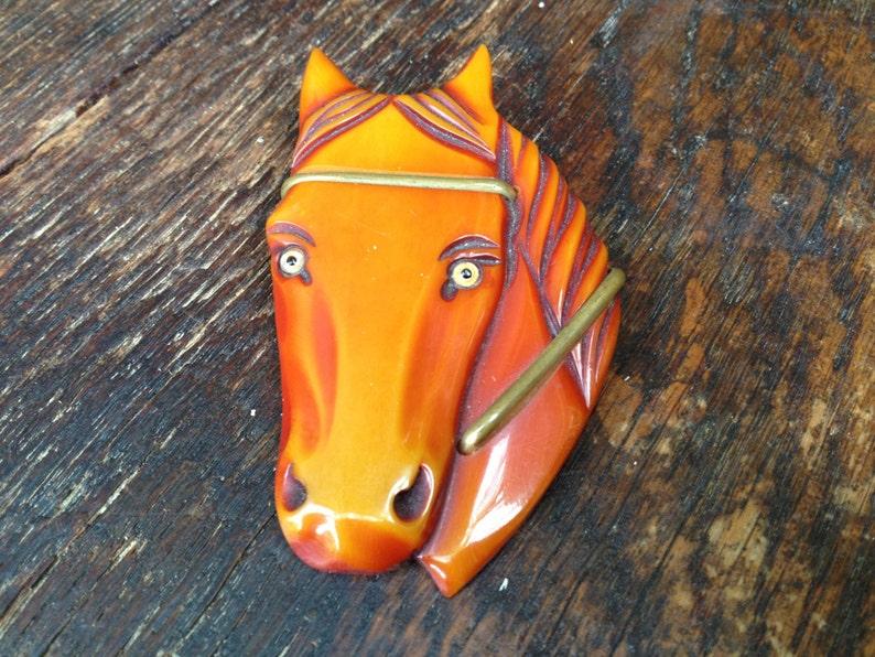 Amber Butterscotch Bakelite Horse Pin Brass Carved Horse Head Brooch Pin