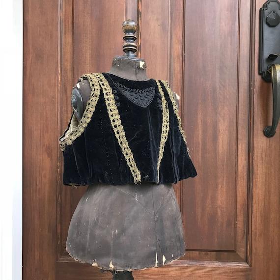 Antique French Childs Waistcoat, Velvet, Gold Meta