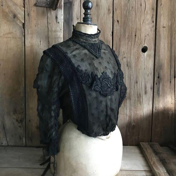 Antique Black Silk Jacket Blouse, Chantilly Lace B