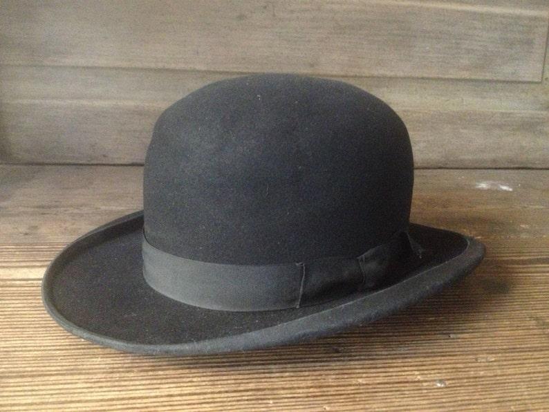 40dbe7e84de31 French Black Derby Bowler Hat Felt Grosgrain Ribbon Ladies | Etsy