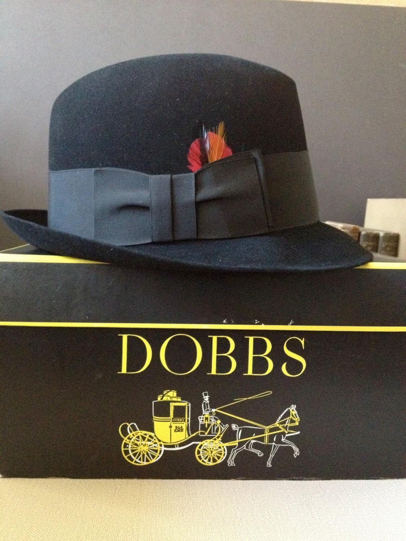 11eba21bcfacd Dobbs Black Fedora Hat New York Original Hat Box Size 7