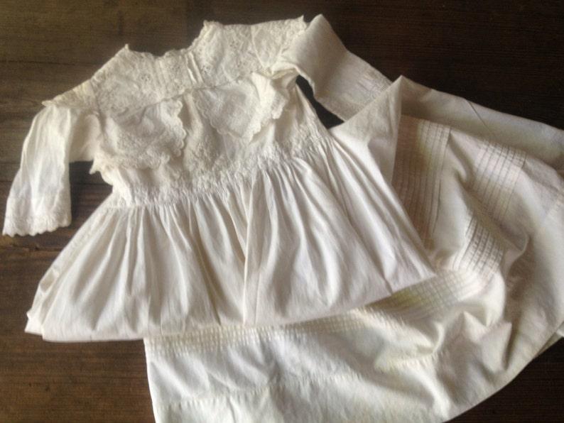 Victorian Edwardian Baby Dress Christening Gown Fine Cotton Lace Handmade Antique