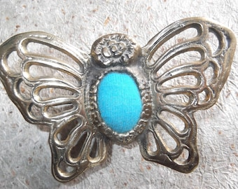 vintage brass butterfly pin cushion, turquoise velvet, pin cushion,