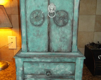 vintage wooden jewelry armoire and stash, shabby chic, farmhouse, french country