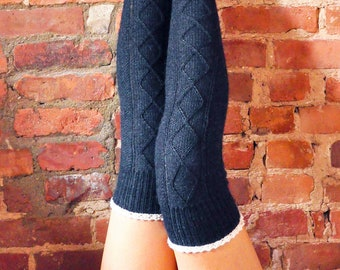 Diamond in the Ruffle Cable Knit Socks KNITTING PATTERN in Ankle, Knee High, and Over the Knee Length