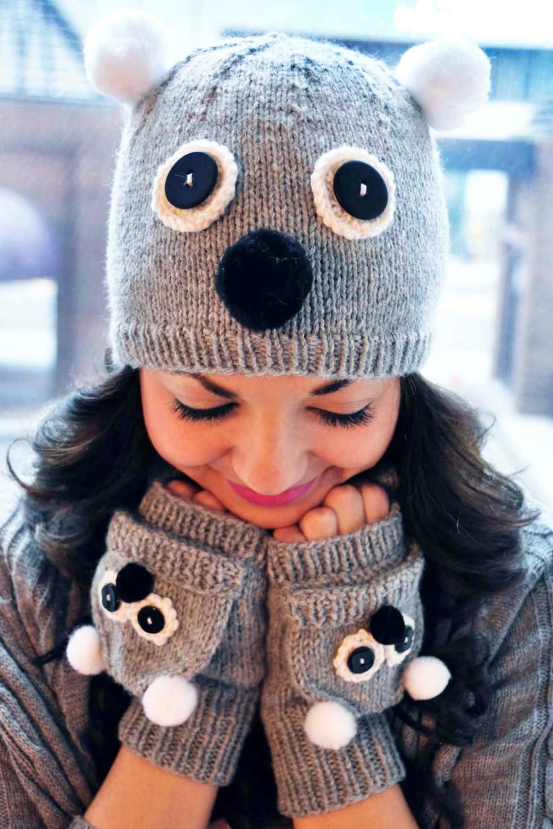 647c8ed4e Care to Cuddle KNITTING PATTERN INSTRUCTIONS Knitted Koala and Owl Hat and  Fingerless Mitten Set