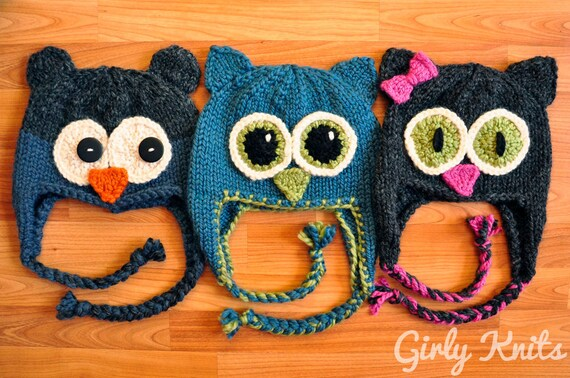 Owl Be There Family Of Animal Hats Knitting Pattern Charcoal Etsy