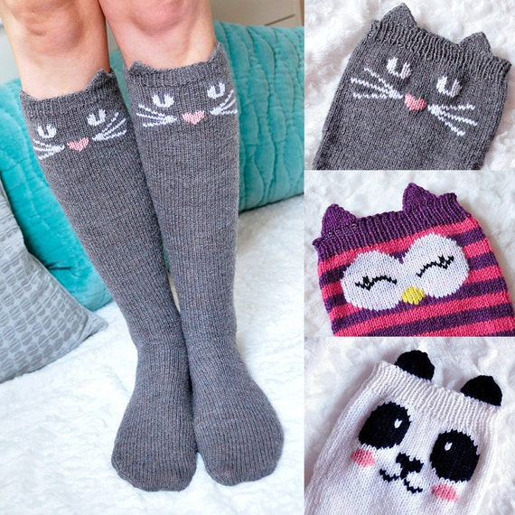 Check Meowt Cat Owl And Panda Knee High Animal Socks Etsy