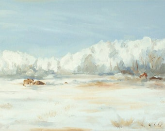 Original Oil Painting - 12 x 36 inches - Hoarfrost In The Pasture panoramic artwork of horses in winter