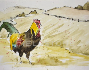 Original watercolour on canvas 4x6 rooster home decor wall art