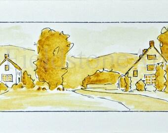 Original watercolor painting miniature art sepia landscape
