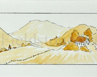 Original alpine country watercolor painting miniature art sepia landscape