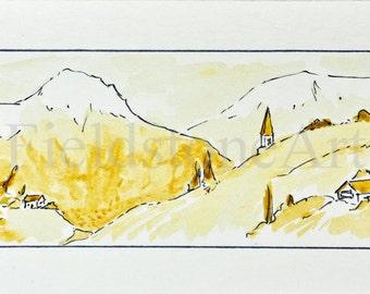 Original Alps watercolor painting miniature art sepia landscape