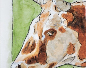 Original ACEO watercolor painting ooak small miniature card cow