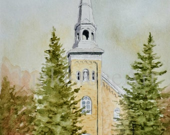 5 x 7 inch art original watercolor painting church steeple in French La Broquerie Manitoba