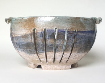 Medium Slated Bowl with Handles in Ocean Blues and Bubblegum Pink | Handmade Colander in Unglazed Pottery
