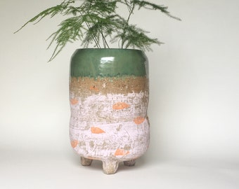 Large Indoor Planter in Bubblegum Pink with Tangerine Dots and Forest Green Glaze | Footed Pottery Plant Pot with Built in Water Dish
