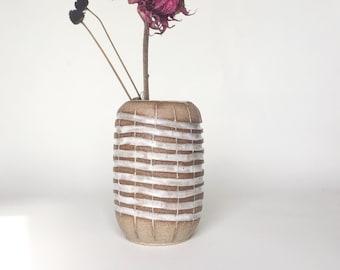 Medium Mat White Stripes Carved Oval Vase in Handmade Specked Pottery | Mishima Vase