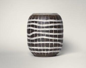 Large Handmade Pottery Vase with Carved White Stripe Woven Pattern in Dark Mocha Clay | Minimalist Mishima Vase