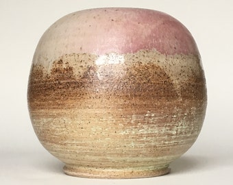Large Round Pink Blush and Lime Sherbet Vase in Speckled Stoneware Pottery // Handmade Wheel Thrown Rustic Ceramic Vase with Unglazed Exteri
