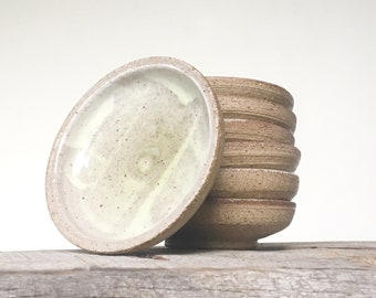 Handmade Saucer in Speckled Unglazed Pottery and Soft Spring Green and White | Small Side Sauce Dishes | Air Plant Holder or Ring Dish