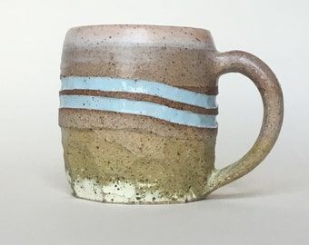 Handmade Mug in Speckled Unglazed Pottery with Pastel Blue Stripes and 'Sun Bleached' Lime Faceted Bottom | Medium Stone Ware Coffee Mug