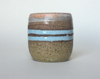 Handmade Tumbler in Unglazed Pottery with Blue Carved Stripes and Dreamsicle Orange Accent
