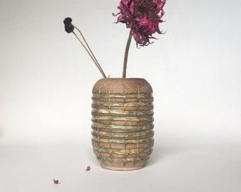 Natural Unglazed Speckled Stoneware Vase with Emerald Green Carved Stripes | Oval Mishima Pottery Vase