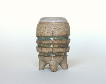 Small Striped and Footed Emerald Green Bud Vase | Hand Carved and Painted Pottery in Speckled Unglazed Clay