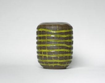 Kafir Lime and Dark Mocha Unglazed Pottery Vase in Carved Woven Pattery | Large Handmade Ceramic Vase