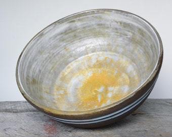 Large Unglazed Footed Bowl in Bonnet Blue and Tangerine | Dark Clay Fruit Bowl