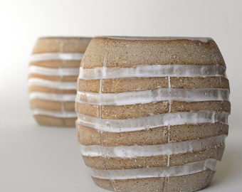 Handmade Grenade Cocktail Tumbler | Carved White and Beige Glass in Unglazed Speckled Pottery